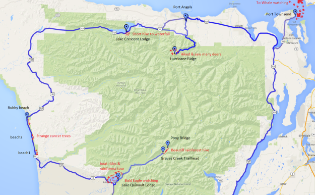 Olympic NP trip map